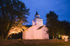 Church in Norway at night Stock Photo
