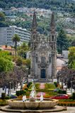 Church Nossa Senhora da Oliveira in the historic town of Guimaraes in Northern Portugal. Is called the Cradle City or the Birthplace of Portugal royalty free stock photography