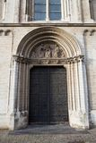 Church Notre Dame de la Chapelle in Brussels. Door of a church Notre Dame de la Chapelle in Brussels Stock Image