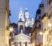 The church Notre Dame de Lorette at night, Paris, France. Royalty Free Stock Photos
