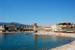 The Church Notre-Dame-des-Anges in the harbour of Royalty Free Stock Photo