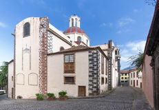 Church of Nuestra Senora de la Concepcion in La Orotava. On the island of Tenerife, Canary Islands, Spain. West front and street Calle Los Alfombristas Stock Photography