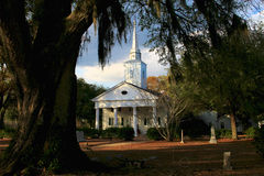 Church among the Oaks. Small white church house in an oak grove south of Selma Alabama Stock Photography