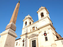 Church and obelisk Stock Photos