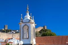 A church in Obidos, Portugal. Obidos is a medieval town inside w Royalty Free Stock Photo