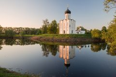 Church Of Intercession On The Nerl In The Evening, At Sunset Royalty Free Stock Images