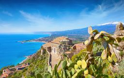 Free Church Of Madonna Della Rocca Built On Rock In Taormina And Mount Etna In Sicily, Italy Stock Photos - 156117083