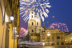 Free Church Of St. Nicholas (Night View ) In The Quarter Of Mala Strana In Prague And Holiday Fireworks, Czech Republic Stock Image - 74547351