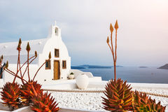 Church in Oia town, Santorini island, Greece Stock Photo