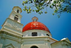 Church. Old church with blue sky and tree branches Royalty Free Stock Photos