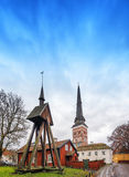 Church old buildings in the surroundings Royalty Free Stock Photo