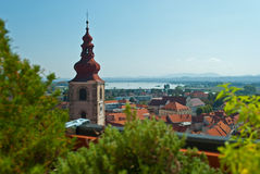 Church and old city of Ptuj. Church and old city of Slovenia town - Ptuj Royalty Free Stock Photo