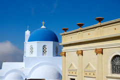 Church and old house in Pyrgos Royalty Free Stock Image
