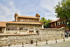 Church in Old Nesebar. Architecture on the walls with religious themes in the Old Nesebar Stock Photos