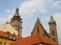 Church. Old Roman Catholic Church in the Czech Republic with towers suitable for background stock photography