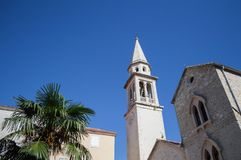 Church in the Old Town of Budva, Budva Riviera, Montenegro.  Stock Images