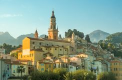 Church and old town of Menton Royalty Free Stock Photo