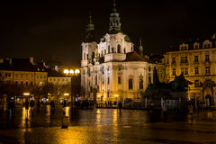 Church at Old Town square of Prague. Night scenery on dominant of Prague Royalty Free Stock Photography