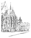 Church in Old town. Street in Pilsen, Bohemia. Hand-drawn sketch vector illustration