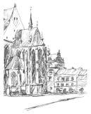 Church in Old town. Street in Pilsen, Bohemia. Hand-drawn sketch. Pilsen Plzeň, Bohemia, Czech Republic. Linear graphic illustration vector illustration