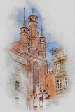 Church, Old Town in Torun, Poland, digital watercolor illustration vector illustration