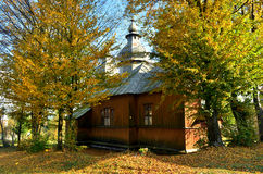 Church. Old wooden orthodox church among the trees Royalty Free Stock Photo