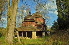 Church. Old wooden orthodox church among the trees Royalty Free Stock Photography