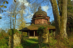 Church. Old wooden orthodox church among the trees Stock Photo