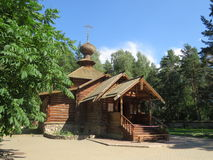 Church. Old wooden church among the trees Royalty Free Stock Image