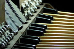 Church Organ. Pedals shot from below Stock Photo