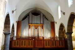 Church Organ in the Chapel at the Abbey of St. Maurice royalty free stock photo