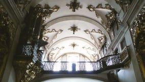 Church organ and church ceiling stock video