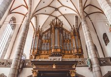 Church organ. Majestic Music in an Ancient Church Stock Image