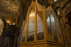 Church organ in of the Monastery or Hieronymites Royalty Free Stock Images