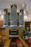 Church organ. In the old wooden church in eastern Finland stock images