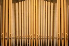 Church Organ Pipes. Organ pipes at the Third Avenue United Church in the city of Saskatoon, Canada stock photo