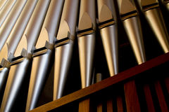 Church organ pipes. Photographed from below Stock Photos