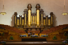 Church organ pipes at the Mormon Tabernacle. Church organ pipes and the Interior of the Mormon Tabernacle Temple Square, Salt Lake City, Utah stock photos