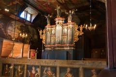 Church organ. In a Wooden Church Royalty Free Stock Photography