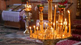 Church. Orthodox Church. Christianity. church lighted candles. icon. religion stock footage