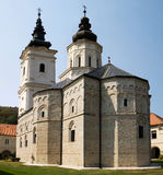 The church in the orthodox monastery Jazak in Serbia. The Jazak monastery is located in the northern Serbia, in the province of Vojvodina. The monastery was Stock Image