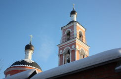 Church. The Orthodox Church in the winter in the countryside in Russia Stock Photography