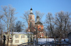 Church. The Orthodox Church in the winter in the countryside in Russia Royalty Free Stock Photography