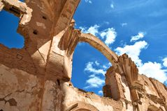 Church os St. Martin of Tours in Belchite Royalty Free Stock Images