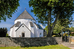 The church Osterlars Kirke on Bornholm Stock Photo