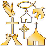Church and Other Christian Symbol Set. Churches, crosses, holy spirit dove, fish, hands praying Christian Symbol Set Stock Photos