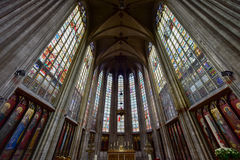 Church of Our Blessed Lady of Sablon. Notre Dame du Sablon`s Cathedral Church of Our Blessed Lady of Sablon in Brussels, Belgium stock images