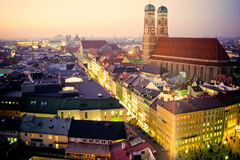 Church of our Dear Lady in Munich at dusk Royalty Free Stock Image