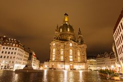 Church of Our Lade. At night, Dresden, Germany Stock Images
