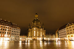 Church of Our Lade. At night, Dresden, Germany Stock Photography
